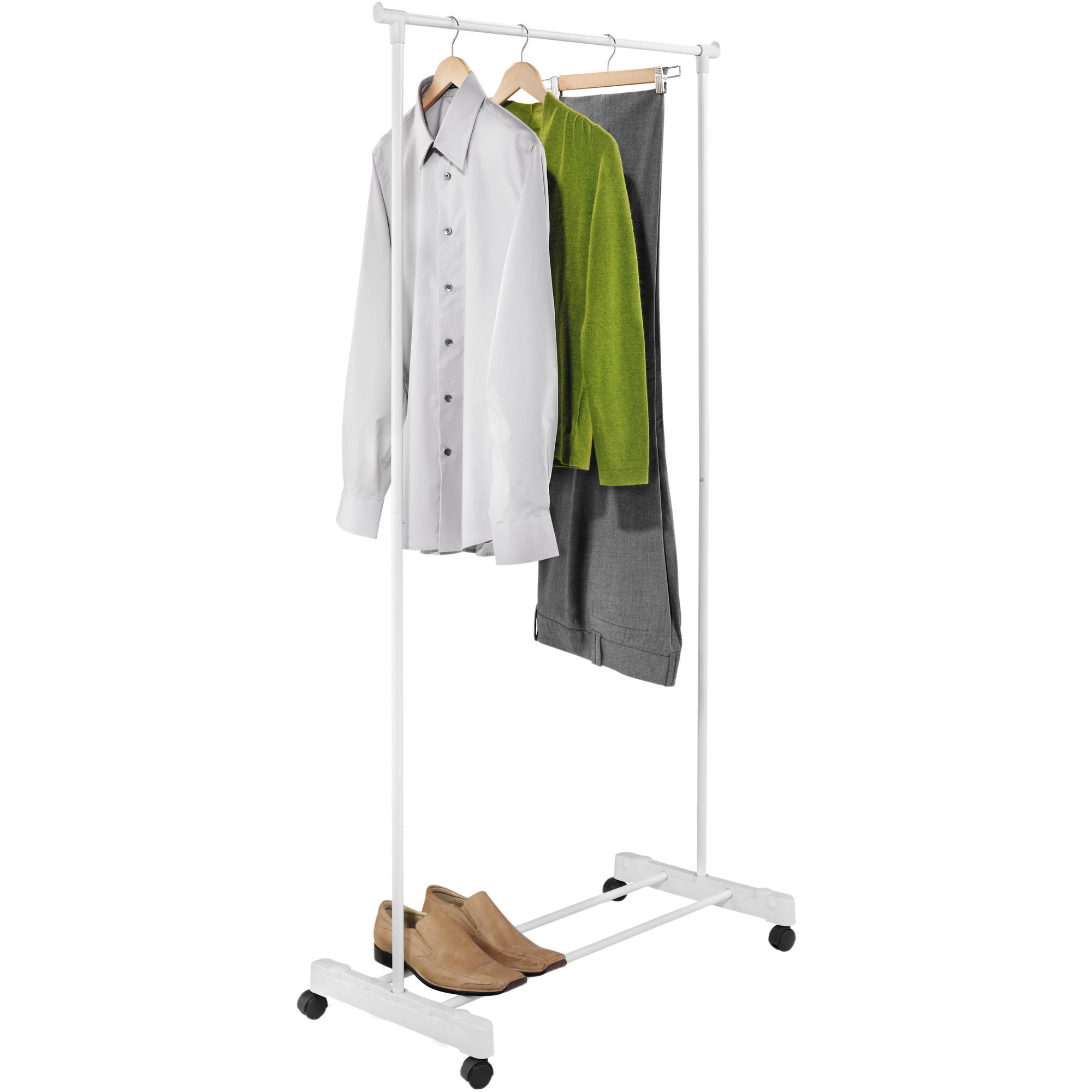 Honey Can Do Rolling Portable Garment Rack with Lower Shelf, White