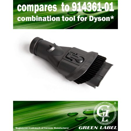 2-in-1 Combination Tool for Dyson DC24 Multi Floor: Dusting Brush and Upholstery Nozzle Attachment (compares to 914361-01). Genuine Green Label (Upholstery Nozzle)