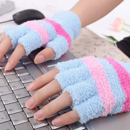USB Heating Winter Hand Warm Gloves Heated Fingerless Warmer Mitten BU