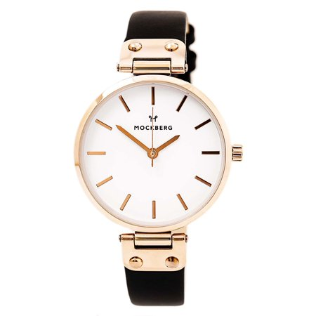 MO1001 Women's Sigrid White Dial Rose Gold Steel Black Leather Strap Watch
