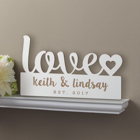 Personalized Our Love Antique White Wood Plaque