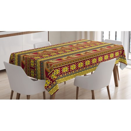 African Tablecloth, Oriental Djembe Drums Music Culture in Africa Theme Geometric Chevrons Triangles, Rectangular Table Cover for Dining Room Kitchen, 52 X 70 Inches, Multicolor, by Ambesonne