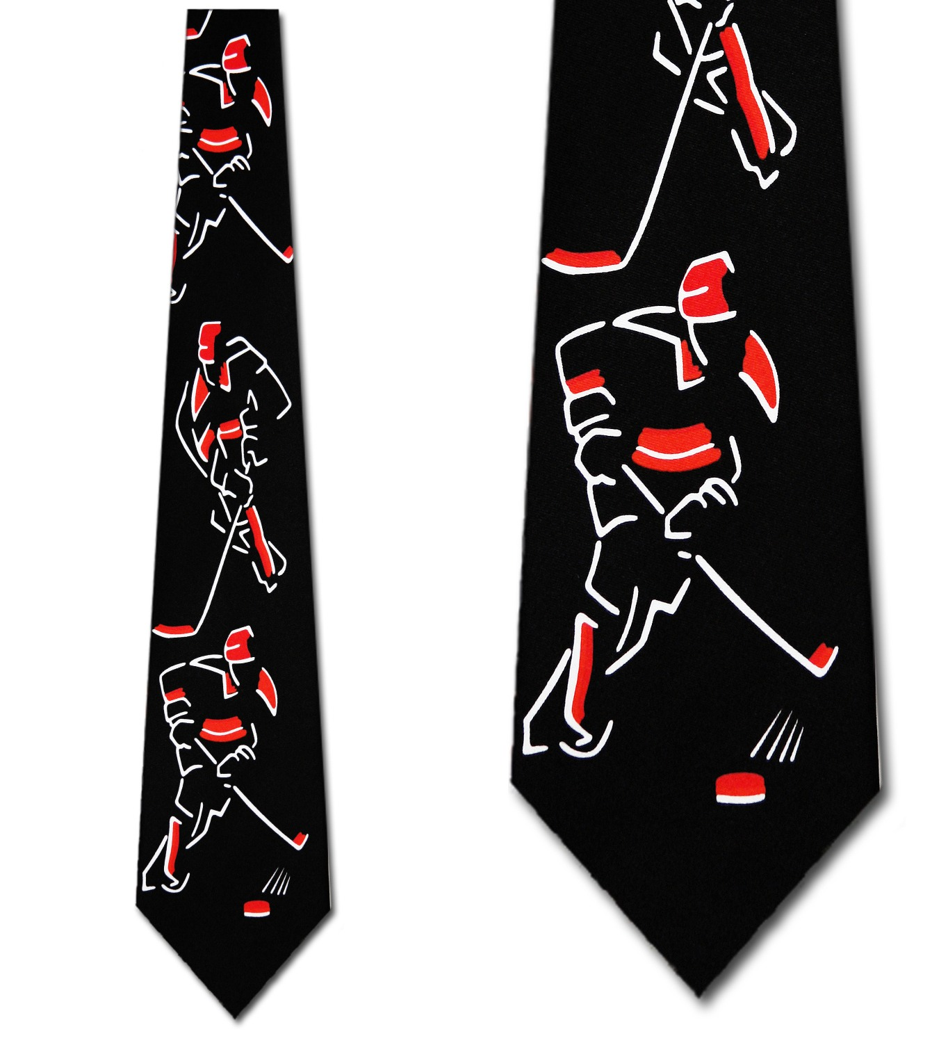 Hockey Images (Black and Red) Necktie Mens Tie by