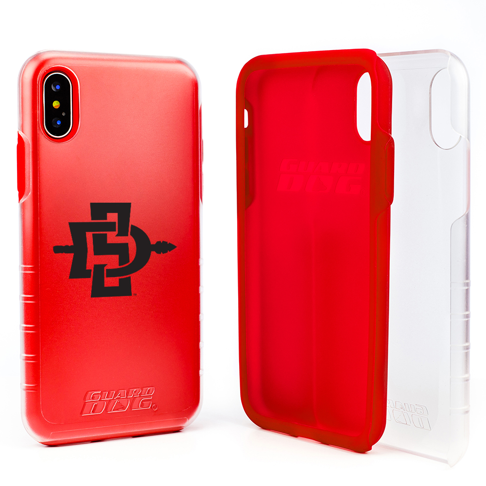 San Diego State Aztecs Clear Hybrid Case for iPhone X- Red with Guard Glass Screen Protector