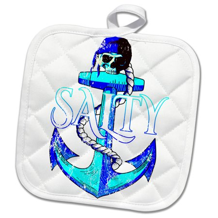 3dRose Salty nautical ship anchor and pirate skull in bright coastal colors. - Pot Holder, 8 by 8-inch