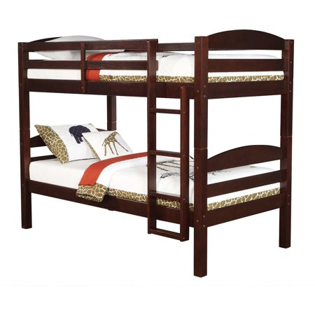 Mainstays Twin Over Twin Wood Bunk Bed Espresso