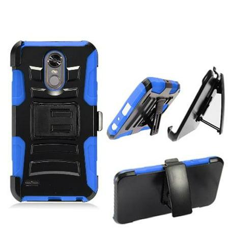 Phone Holster For Boost Mobile LG Stylo 3 (Virgin Mobile) / LG Stylo 3 Plus Combo Phone Case with Stand  ( Hoslster Blue Edge Cover Kickstand ) (Virgin Mobile Phone Case Lg Volt)