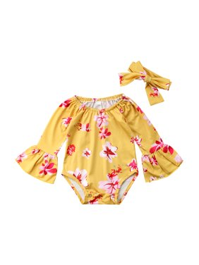 9b7641eca6dd Product Image Newborn Kid Baby Girl Summer Floral Bell Sleeve Bodysuit Romper  Clothes Outfit with Headnband. Gaono