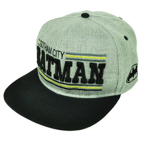 387d9e950 Batman Gotham City Snapback Flat Bill Super Hero Gray DC Comics Cartoon Hat  Cap - Walmart.com