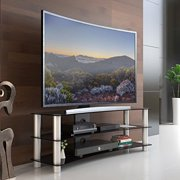 Fitueyes Universal TV Stand base with storage space and Curved Tempered Glass for up to 55 in Samsung Vizio LG Flat Screen Tv TS313001GB