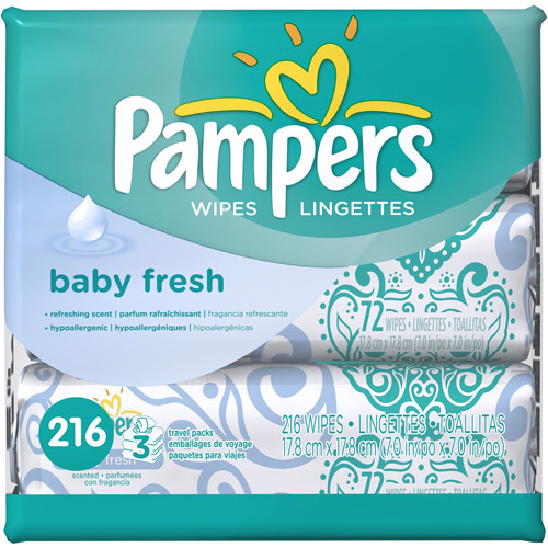 Pampers Baby Fresh Baby Wipes Travel Packs, 216 sheets
