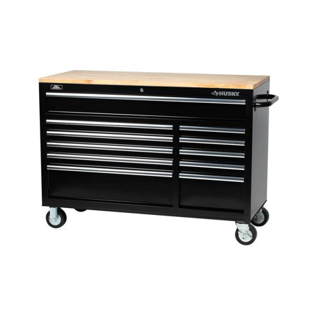 Husky Mobile Workbench 52 Inch 11 Drawer Solid Wood Top 22