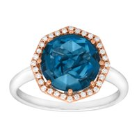 Duet 3 1/3 ct Natural London Blue Topaz & 1/8 ct Diamond Ring in Sterling Silver & 10kt Rose Gold
