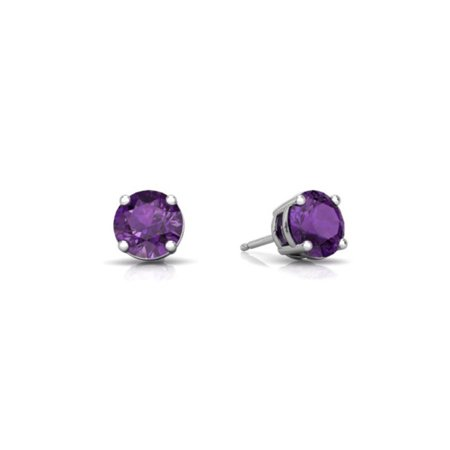 14k White Gold Plated Round Lab Created Alexandrite Stud Earrings