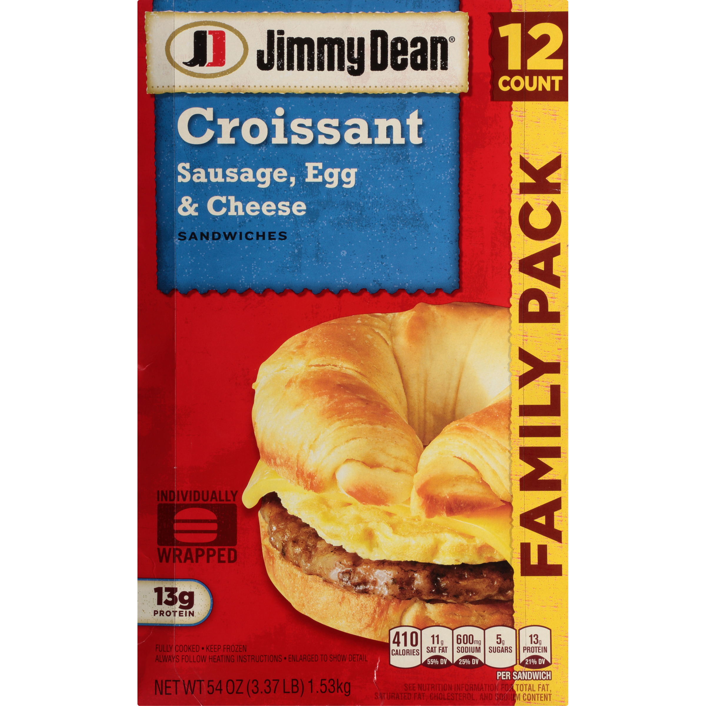 Jimmy Dean® Sausage, Egg & Cheese Croissant Sandwiches, 12 Count (Frozen)