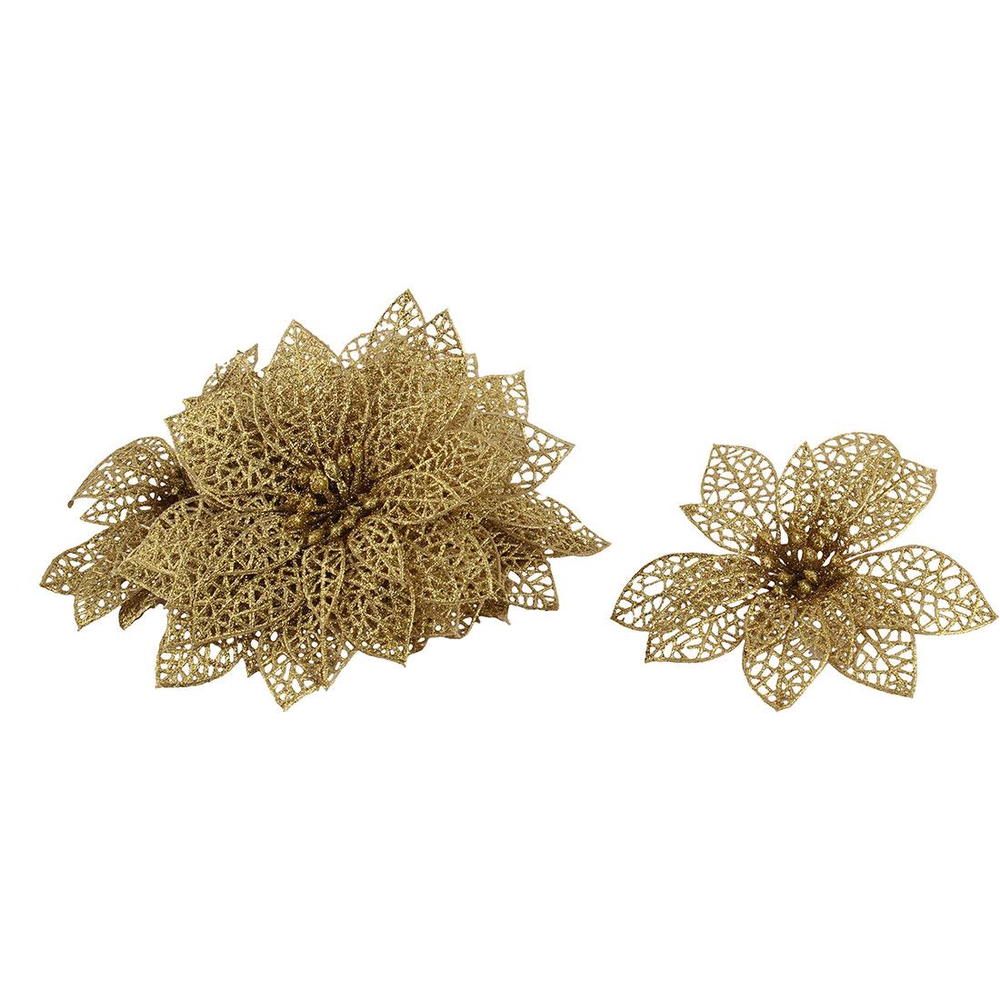 Festival Christmas Tree Artificial Glitter Hanging Ornaments Flower 10 PCS