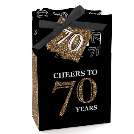 Adult 70th Birthday - Gold - Birthday Party Favor Boxes - Set of 12