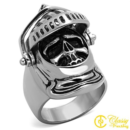 Classy Not Trashy® Size 10 Men's Medieval Knight's Open Helmet Ring with Skull Face