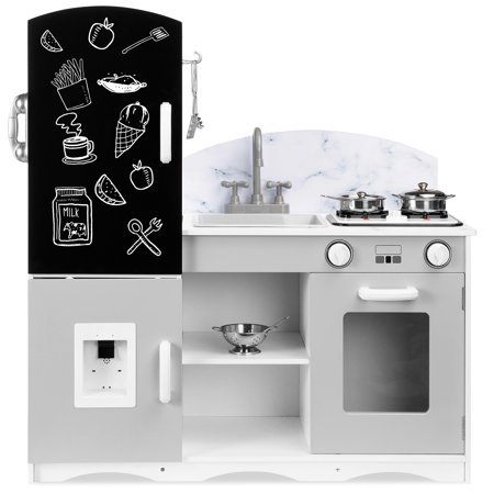 Best Choice Products Wooden Pretend Play Kitchen Toy Set for Kids w/ Chalkboard, Marble Backdrop, 7 Accessories - Gray