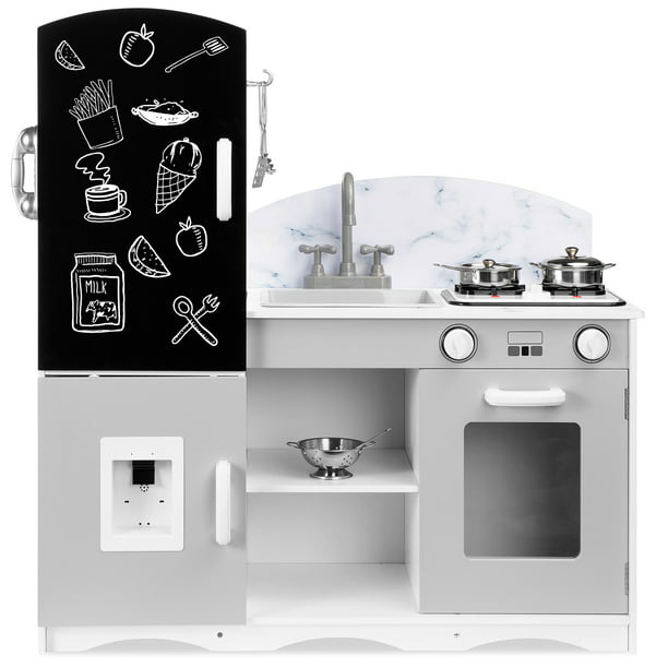 Best Choice Products Wooden Pretend Play Kitchen Toy Set For Kids W Chalkboard Marble Backdrop 7 Accessories Gray Walmart Com Walmart Com