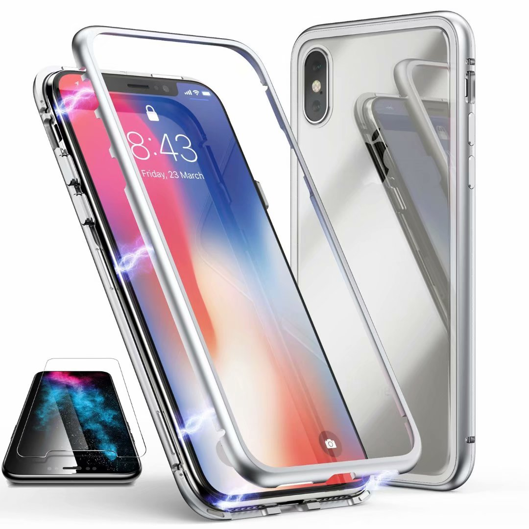 For iPhone X case, Dteck Magnetic Adsorption Metal Case Temepred Glass Clear Back Cover With Screen Protector