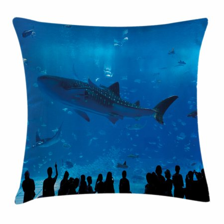 Shark Throw Pillow Cushion Cover, Japanese Aquarium Park with People Silhouettes Watching Underwater Life Hobby Image, Decorative Square Accent Pillow Case, 16 X 16 Inches, Blue Black, by (Images Of Black People With Blue Eyes)