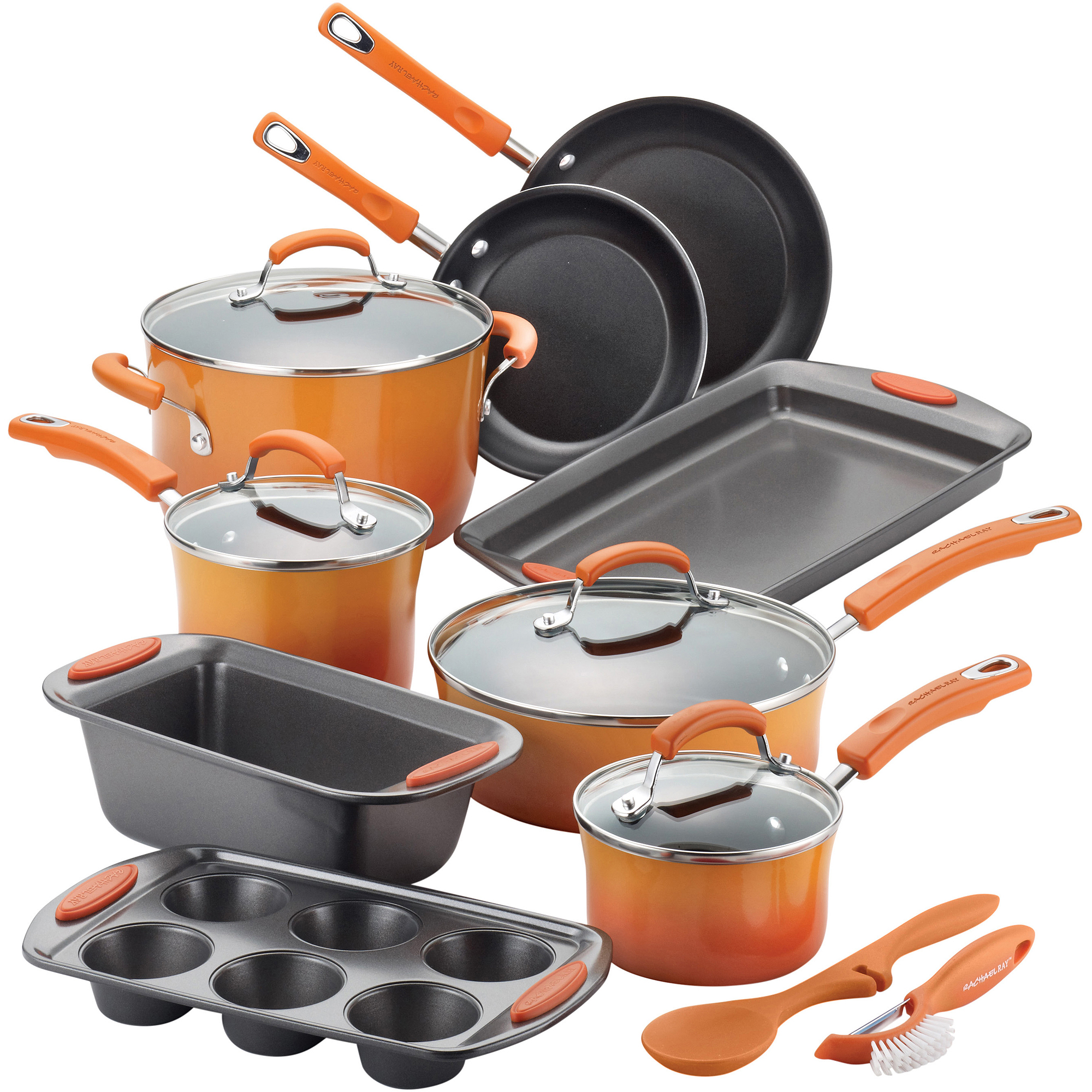 rachael ray 15-piece hard enamel non-stick cookware set - walmart