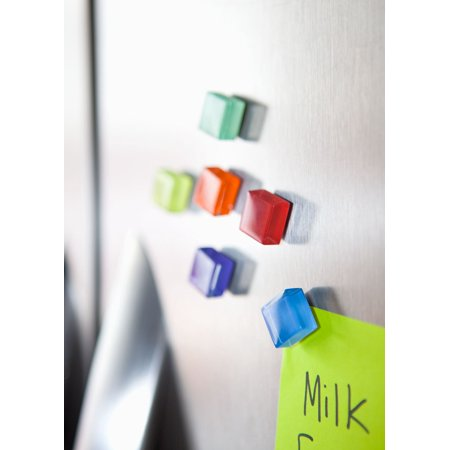 24 Colorful Glass Cube Magnets - Perfect decorative magnet set, Refrigerator Magnets, Office Magnets, Calendar Magnet, Whiteboard Magnets, Jewel Magnets, Pretty Fridge Magnets, and School Magnets Colored Glass Tile Magnets