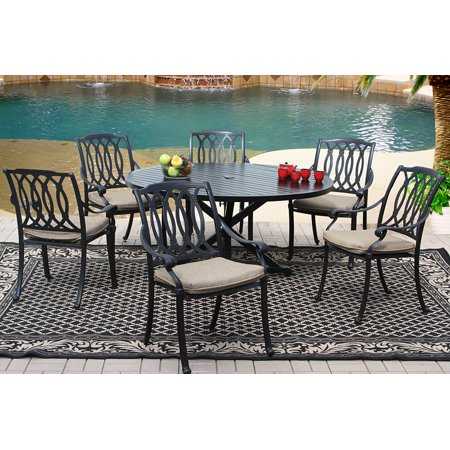 San Marcos Cast Aluminum Patio 7pc Set 60 Inch Round Dining Table