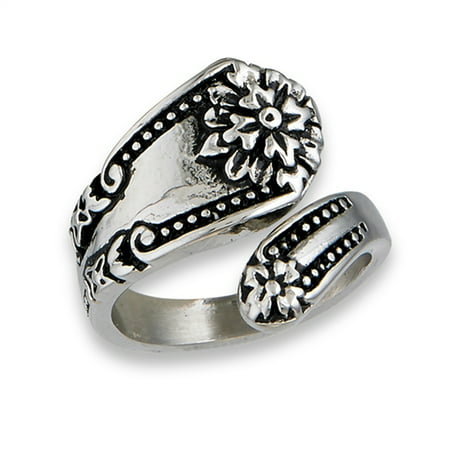 Victorian Flower Spoon Ring Stainless Steel Open Wrap Vintage Band Size 7 (Gray Freshwater Ring)