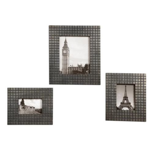 Set of 3 Antiqued Silver Leaf and Ebony 4x6 5x7 8x10 Photo Picture Frames