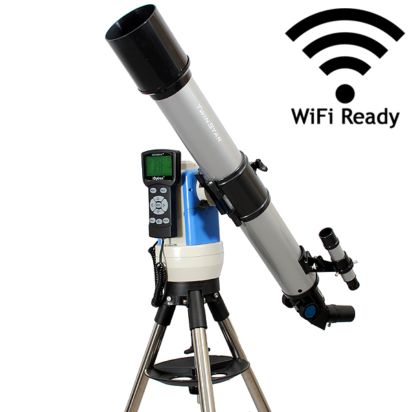 Twinstar 70mm GPS Computerized Refractor Telescope With EQ Mount and iOptron StarFi Wi-Fi Adapter, Silver
