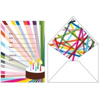 Club Pack of 120 Multicolored Birthday Party Invitations with Matching Envelope 7""
