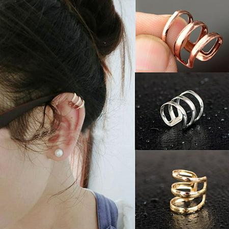 Obstce Punk Rock Ear Clip Cuff Earrings Non-Piercing Clip On Jewelry for Women Party