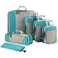 Gonex Compression Packing Cubes, 6 Set Mesh Organizers L+M+S+XS+Slim+Laundry Bag 6 Colors Options