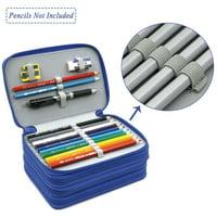 4 Layers 72 Slots High Capacity Pencil Brush Case Box Pen Pouch Bag Makeup Storage Bag(Blue)