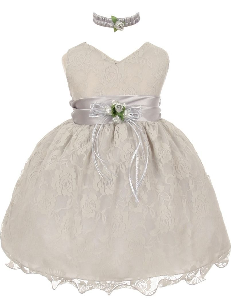 Little Girls Silver Lace Overlay Flower Sash Special Occasion Dress 4T