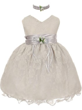 9d9ccac9f Product Image Little Girls Silver Lace Overlay Flower Sash Special Occasion Dress  4T