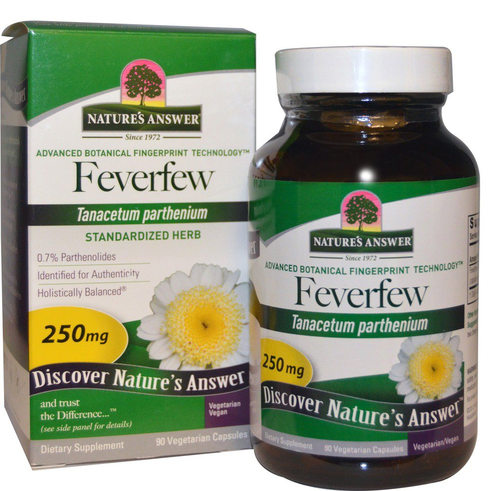 Feverfew Herb Standardized Nature's Answer 90 VCaps