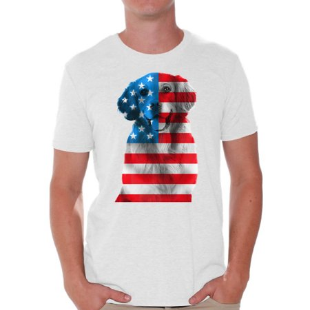 Awkward Styles Men's USA Flag Golden Retriever Graphic T-shirt Tops Independence Day Gift (Mens Black Golden Retriever)