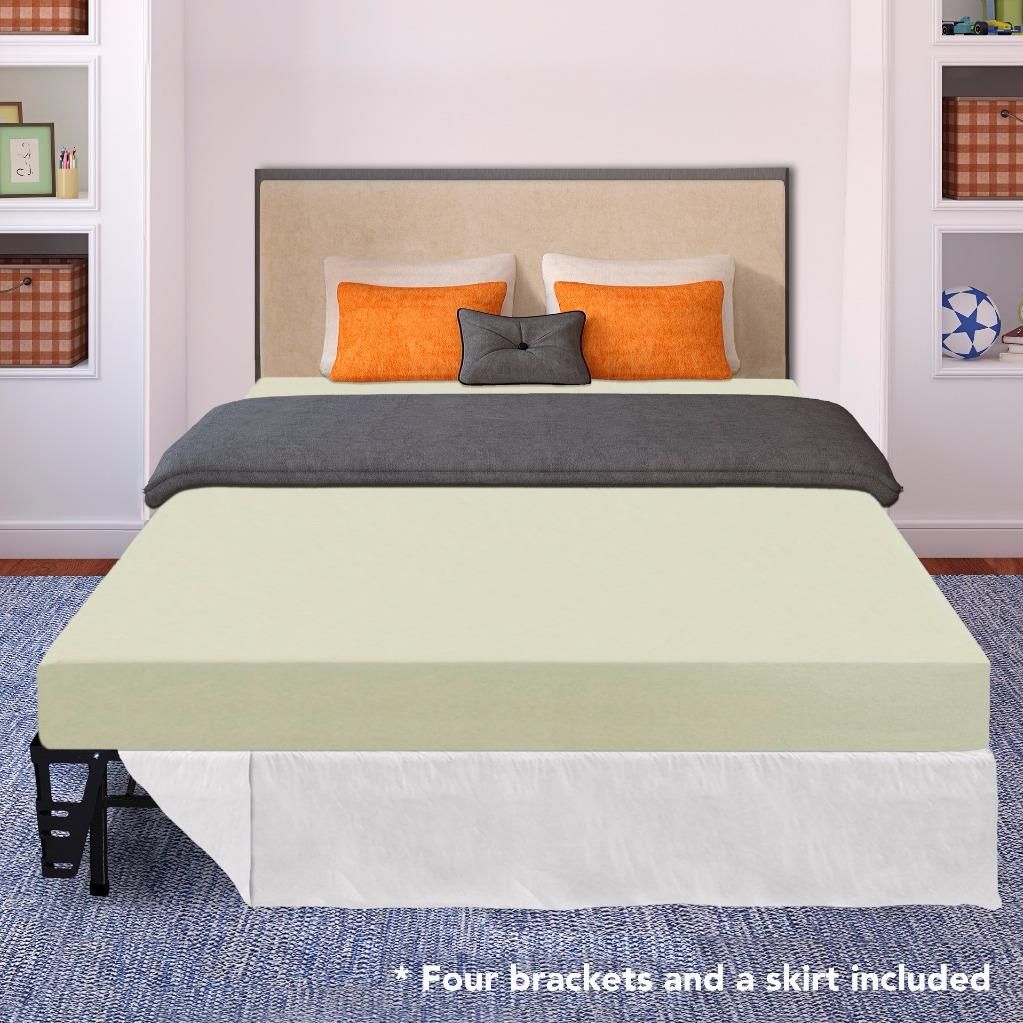 Best Price Mattress 6 Inch Memory Foam Mattress and New Innovated Platform Metal Bed Frame Set with Skirts &... by Best Price Mattress