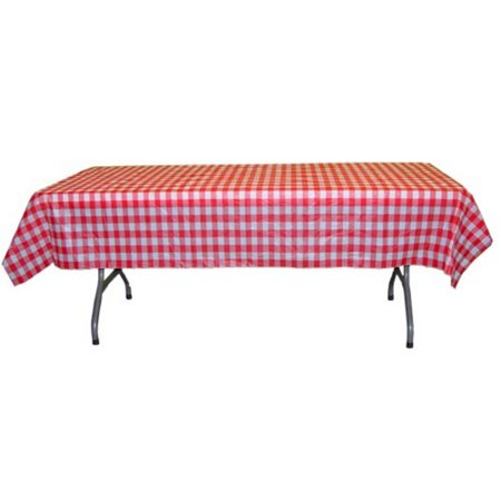 Exquisite Premium Plastic Tablecloth 54in. x 108in. Rectangle Table Cover - Red - Gingham Tablecloths