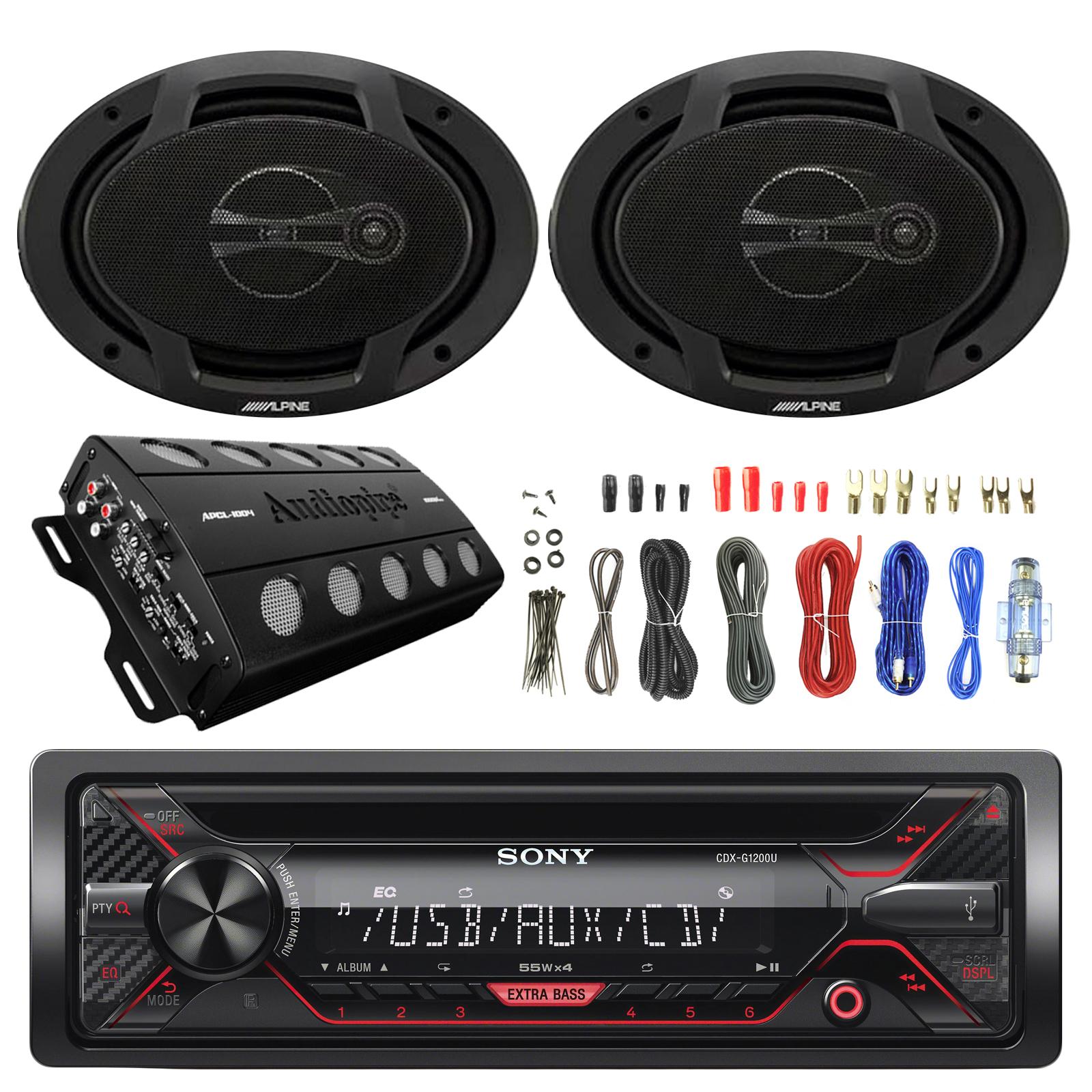 Sony CDX-G1200U 55W CD Receiver,2X Alpine SPJ-691C3 6 x 9 Inches Coaxial  3-Way Speaker, Audiopipe 1000 Max Watt 4 Channel Amplifier, Enrock 8 Gauge