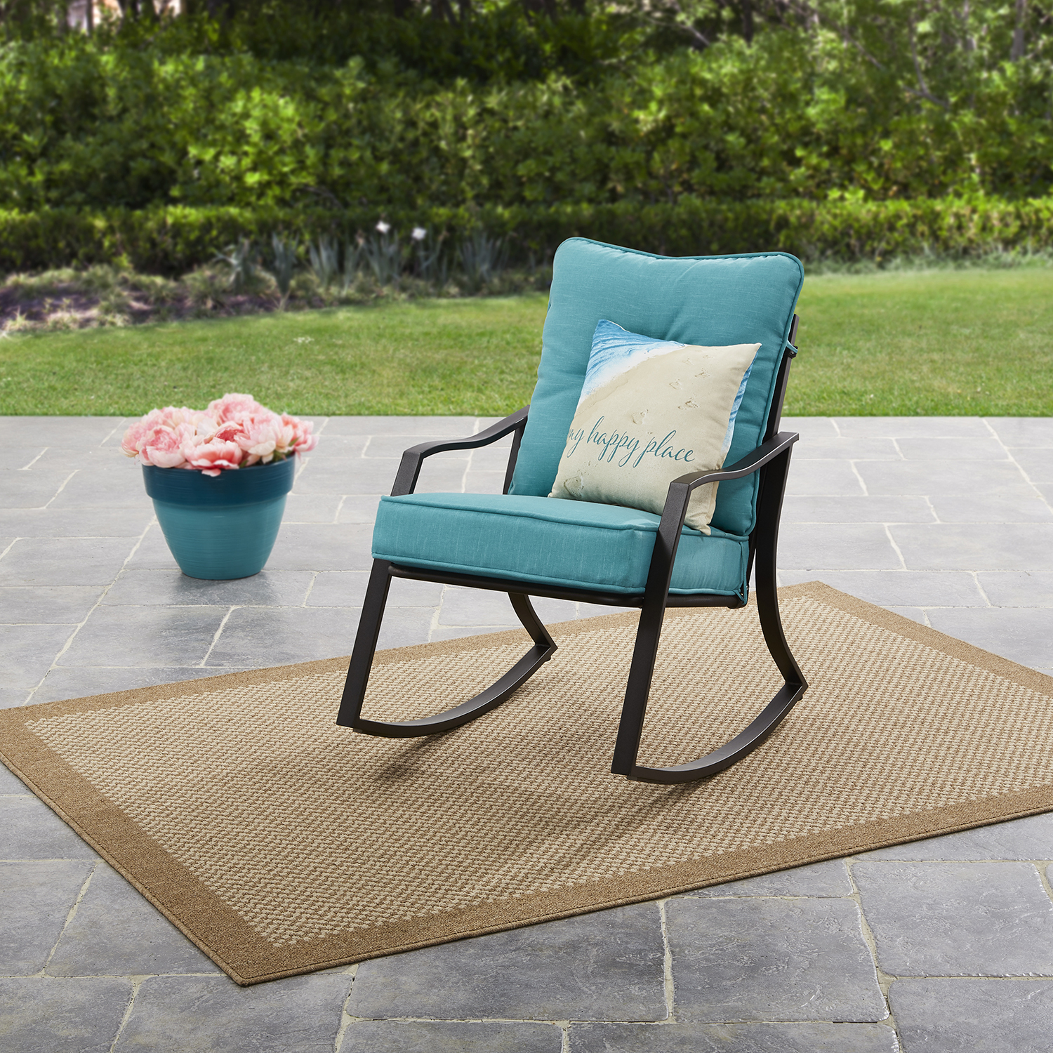 mainstays forest hills outdoor rocking chair - teal - walmart com