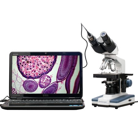 AmScope 40X-2500X LED Digital Binocular Compound Microscope with 3D Stage + USB Camera