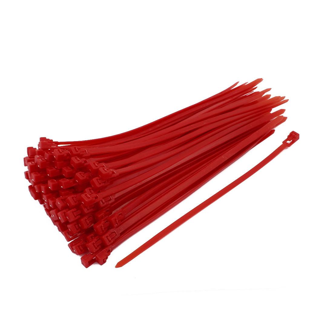 100Pcs 5x200mm Nylon Wire Tie Fastener Strap Adjustable Reusable Hook Loop