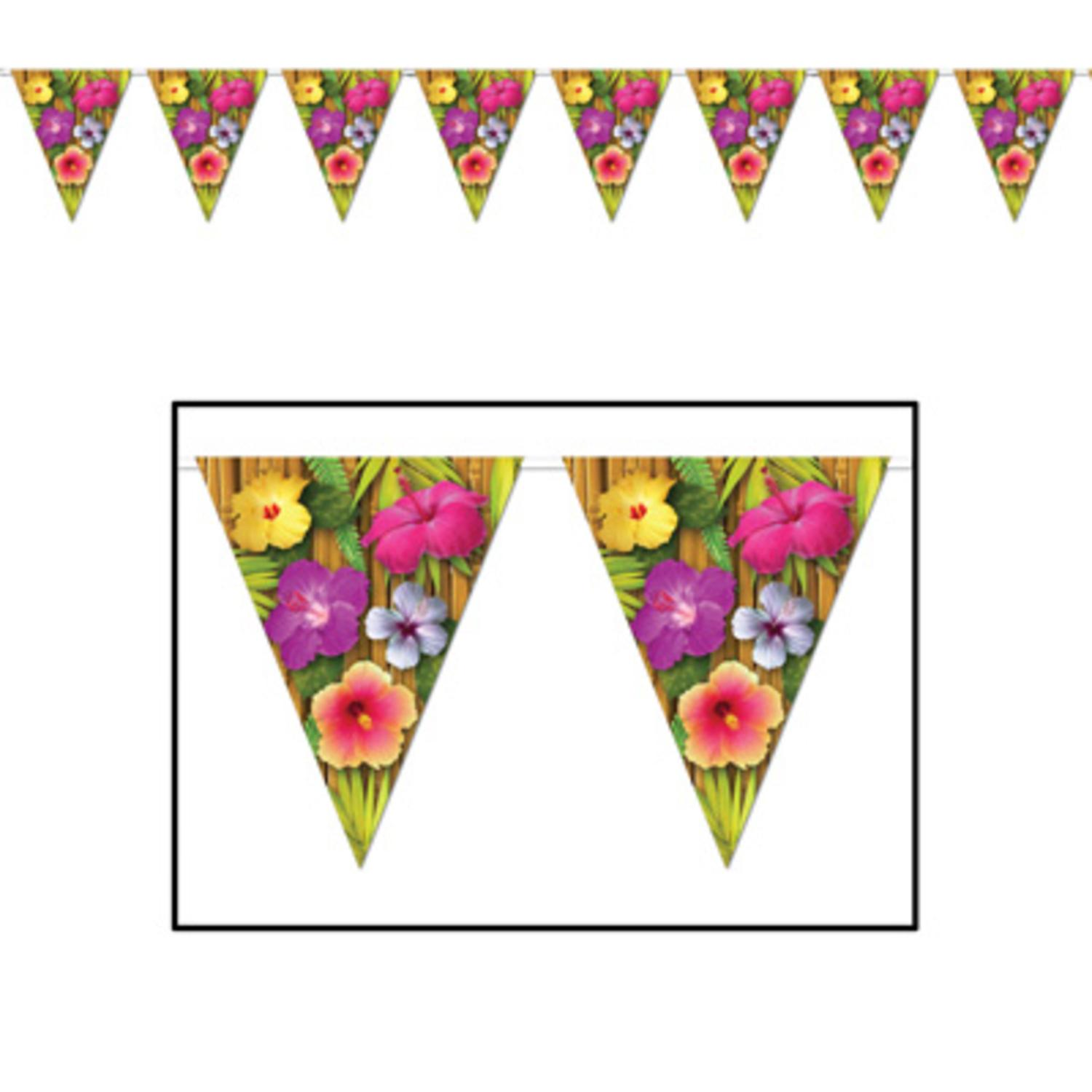 Pack of 12 Colorful Hawaiian Tropical Flower Luau Party Decoration Pennant Banners 12'