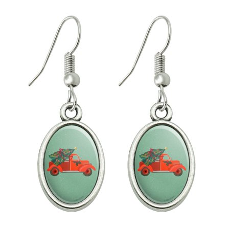 Old Timey Christmas Red Truck and Tree Novelty Dangling Drop Oval Charm Earrings Tree Charm Earrings