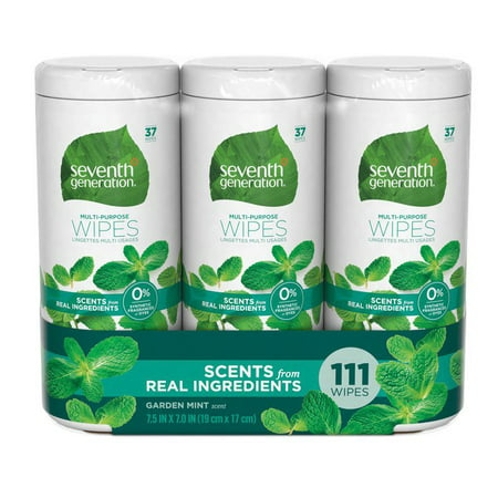 Seventh Generation Multi-Purpose Wipes, Refreshing Garden Mint, 37 count (3 (Purpose Wipes)