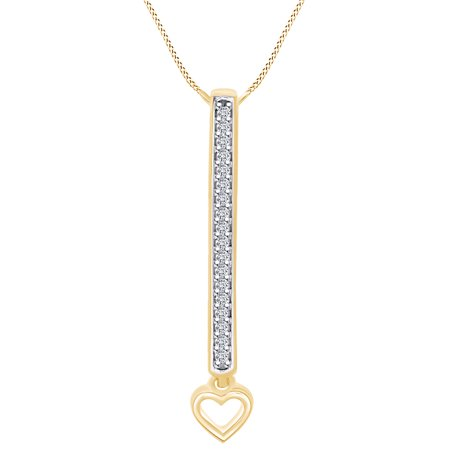 0.08 Carat Round Shape White Natural Diamond Accent Bar With Heart Pendant Necklace 10K Solid Yellow Gold (Bear Diamond Pendant)